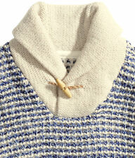 H&M Men's Blue & Cream Chunky Wool Jumper With A Shawl Collar Size Small Xmas