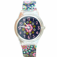 Lovely Kids Girls Colour Flower Floral Pattern Silicone Wrist Quartz Watch + Box