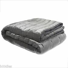 LAURA ASHLEY VELVET DOVE GREY / SILVER LOUISE QUILTED BEDSPREAD BED COVER - USED