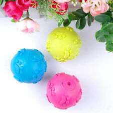 New Dog Puppy Cat Pet Squeaky Squeaker Rubber Chew Sound Ball Play Training Toys