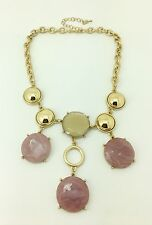 Macy's Gold-Tone Pink and Gold Stone Frontal Necklace