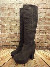 Ladies Bertie Grey Suede High Heel Platform Long Boots Size UK 5