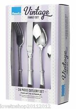 Amefa Vintage Bead 24 Piece 6 Person Cutlery Set Gift Boxed Stainless Steel