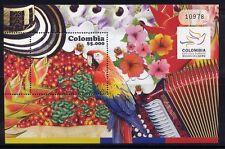 Kolumbien Colombia 2010 Papagei Musik Früchte Blumen Parrot Music Block MNH 7