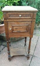 Vintage French bedside cabinet marble top, drawer and cupboard space