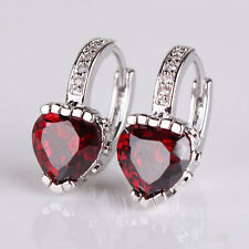 Fashionable chic huggie earriing! 18K White gold filled heart garnet earring