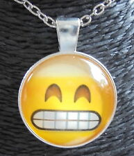 Silver Glass Pendant FREE Necklace GRITTING GRINNING TEETH EMOTICON EMOJI