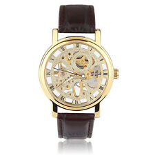 Men Hollow Skeleton Automatic Mechanical Stainless Steel Wrist Watch Brown I5