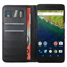 Leather Wallet Flip Case & Card Slot Holder for Huawei Google Nexus 6P - Black