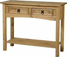 Corona 2 drawer Console Hall Table shelf Mexican Pine Solid Wood Furniture