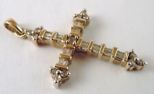 100% Genuine Vintage 9ct Yellow Gold 1.075 carats Diamond Crucifix Pendant.