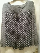 New look smart black white blouse size 22