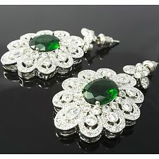 Green Crystal Clear Cubic Zirconia 18K Gold Plated Earrings Stud Dangle Vintage