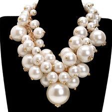 Fashion Jewelry Big Resin Pearl Choker Chunky Statement Pendant Bib Necklace