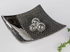 Moderne Deko Schale Obstschale Dekoteller aus Keramik schwarz/silber 25 cm