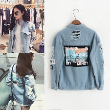Women Boyfriend Loose Jacket Casual Oversize Denim Jeans Coat Outwear Korean New