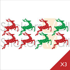 Christmas Reindeer Vinyl Wall Stickers, Wall Decals, Removable Peel and Stick