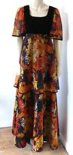 Fabulous Vintage 1960s / 70s Hippy Boho Velvet Maxi Dress UK Size 10