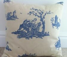 New Toile De Jouy Floral Blue & Cream Fabric Scatter Cushion Covers 16""
