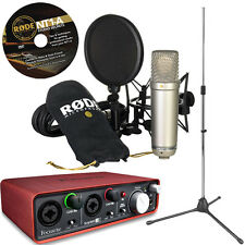 RODE NT1-A Microphone USB Interface Kit - Scarlett 2i2 + Tripod Mic Stand
