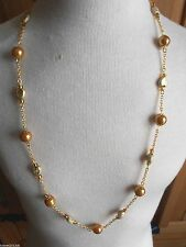 Gold plated Glass Pearl and heart bead necklace Handmade