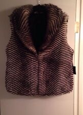 Jack By BB Dakota  Faux Fur Vest Jacket Black & White Size Large