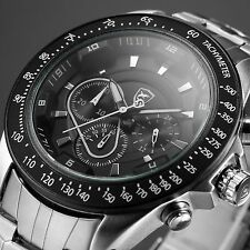 SHARK Army Military Silver Black Chronograph Steel Band Men's Sport Quartz Watch