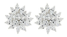 CLIP ON EARRINGS silver plated luxury earring with cubic zirconia stones - Marge