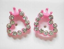 Light Pink Open Heart with Clear Crystal Stud Earring 13 x 10mm Post & Butterfly