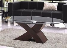 Designer Coffee Table Furniture Living Room Design Modern Dark Brown Wood Glass