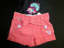 BNWT ~ MAMBO BABY GIRLS SIZE 000 CORAL PINK WOVEN SHORTS PURPLE TRIM ~ NEW