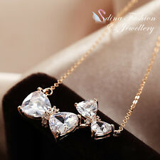 18K Rose Gold Plated Cubic Zirconia Exquisite Shiny Double Bow-knot Necklace