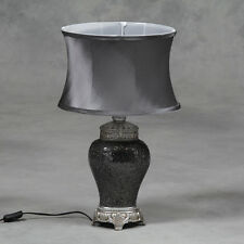 Large Silver Mosaic Lamp with Silver Oval Shade 62cm