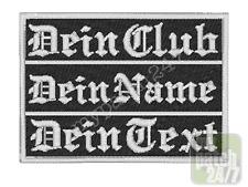 Namensschild Wunschtext Name  Biker Patch Aufnäher gestickt 10x8cm 3-zeilig