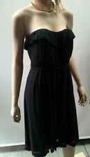 COUNTRY ROAD Size 10 BLACK 100% Pure Luxury SILK Strapless Pleat Dress STUNNING!