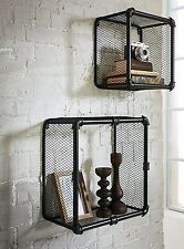 INDUSTRIAL LOFT STYLE PIPE & GRIDE SHELVES SET OF 2 BLACK METAL WALL WIRE BASKET