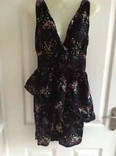 Miss selfridge black floral dress size 10