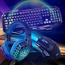 7 Colors Backlight UK Keyboard and Wired Mouse with Headset combo bundle for PC
