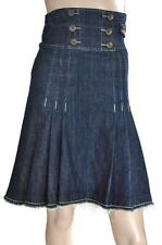 MISS SIXTY SZ 6-8 WOMENS Blue A Line Pleated High Waisted Frayed Hem Denim Skirt