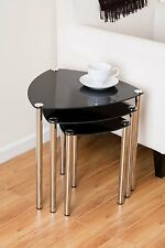 Arena Stylish Set of 3 Black Glass Nesting Tables/Side Table/Coffee Table-GNT06B