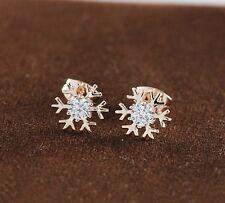 18K Rose GOLD GF Cute Snow Snowflake Swarovski Crystal Stud Earrings Gift