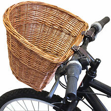 Vintage Wicker Bike Basket Brown Leather Adjustable Strap Bicycle/Cycle/Shopping