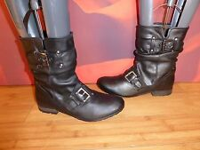 *71*  SUPERB BARRATTS BLACK  LEATHER  RIDING STYLE ANKLE BOOTS  UK 6