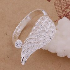 925 Sterling Silver Crystal Angel Wing Adjustable Wrap Band Ring Thumb Gift Bag
