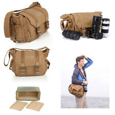 Canvas Khaki Shoulder Camera Bag Rucksack for Canon Nikon Sony  DSLR SLR UK