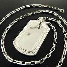 FSA238 GENUINE REAL 925 STERLING SILVER S/F SOLID UNISEX DOG TAG NECKLACE CHAIN