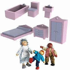 New Wooden Doll House Furniture set 1/12 Scale 18pcs & 3 Dolls Pretend Play