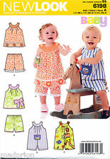 NEW LOOK SEWING PATTERN 6198 BABY BOY/GIRL SZ NB-L DRESS/TOP, SHORTS, ROMPERS