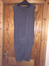 BNWOT M & S Collection Pure Silk Slate Grey Dress Embellished At Neck Size 8