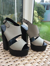 Womens Office Size 5 (38) High Patform Slingback Grey Leather Heel Shoes